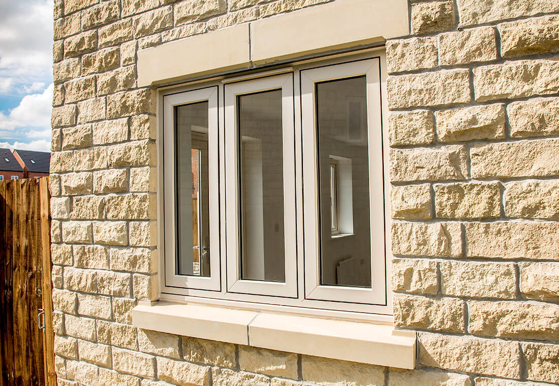 Cream uPVC flush sash window